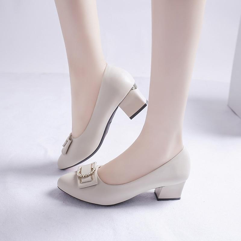 Alto Beige Zapatos 40 Bombas Sexy Botón Nuevas Cuero Las Primavera 35 Mate Tacón Cuadrado negro Moda De Mujer Mujeres Metal Tamaño 2019 RAYwqt