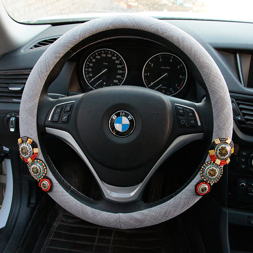 MUNIUREN Vintage Beaded Car Steering Wheel Covers 15 inch 38CM Retro Crystals Steering Wheels Case for Women