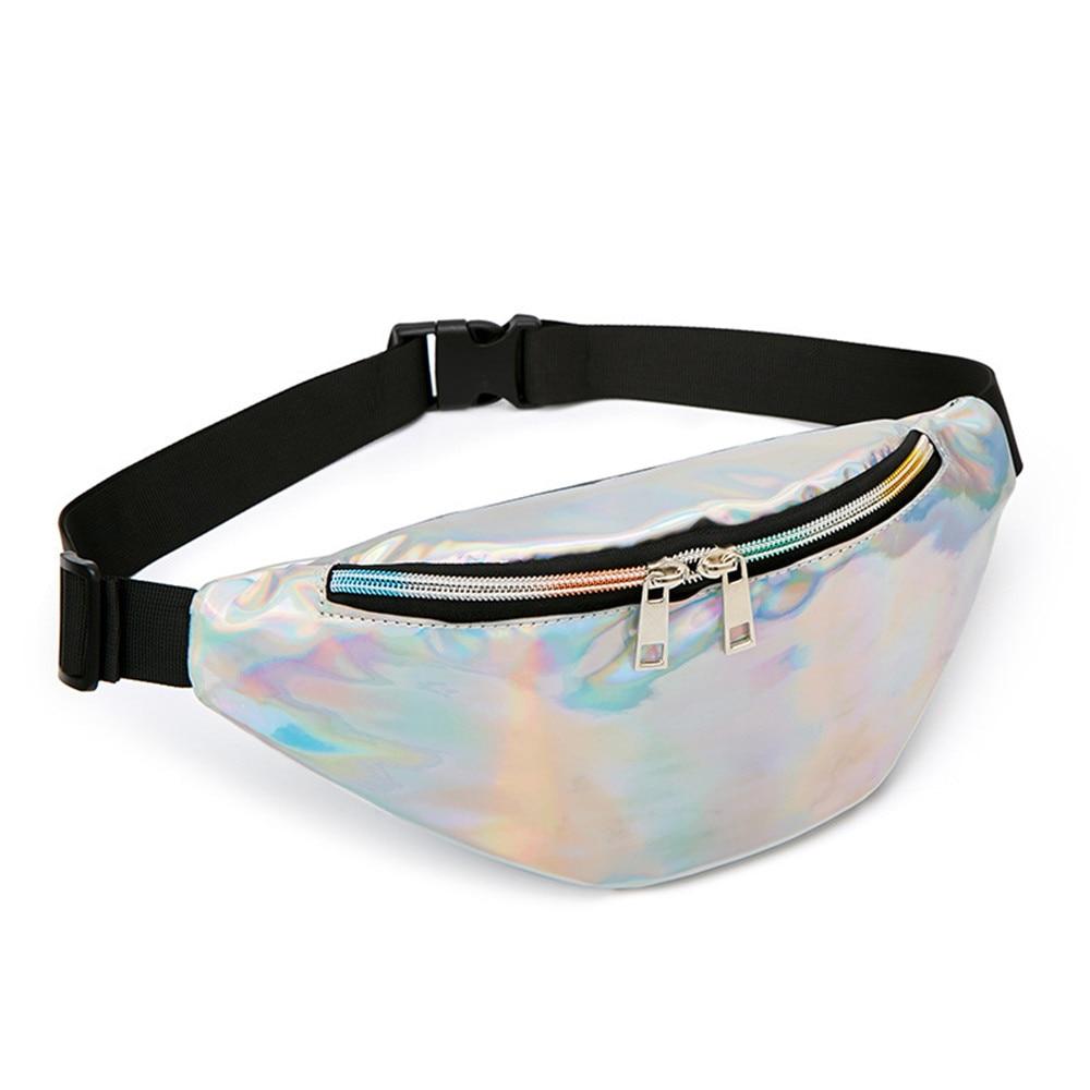 Fashion Sequin Women Waist Bag Fanny Pack Running Zip Belt Money Pouch Holiday Bag Travel Phone Chest For Teenager Girl Shoulder