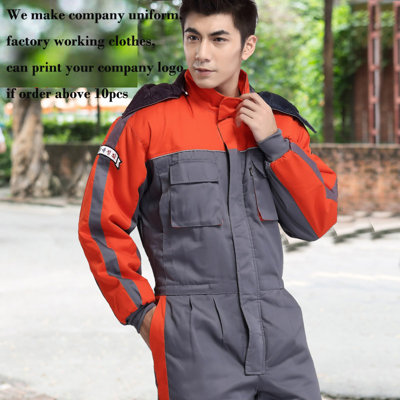 Wholesales Fashion Thicken Warm Jumpsuit Worker Clothing Safety Mens Workwear Working Clothes Coveralls factory workman safety clothing thicken warm windproof cotton jumpsuit sets free shipping
