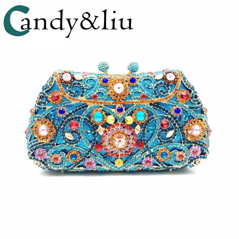 woman bags lady girl gift bride wedding bags dinner banquet evening dress day clutches luxury crystal handbags blue gold diamond bags red crystal day clutches new 2018 european luxury dinner bag bride hollow diamond grade crystal full diamond hand chain bag