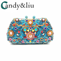woman bags lady girl gift bride wedding bags dinner banquet evening dress day clutches luxury crystal handbags blue gold diamond