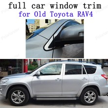 Car Exterior Accessories Decoration Strips  Stainless Steel full Window Trim for Toyota RAV4 09-13 with center pillar