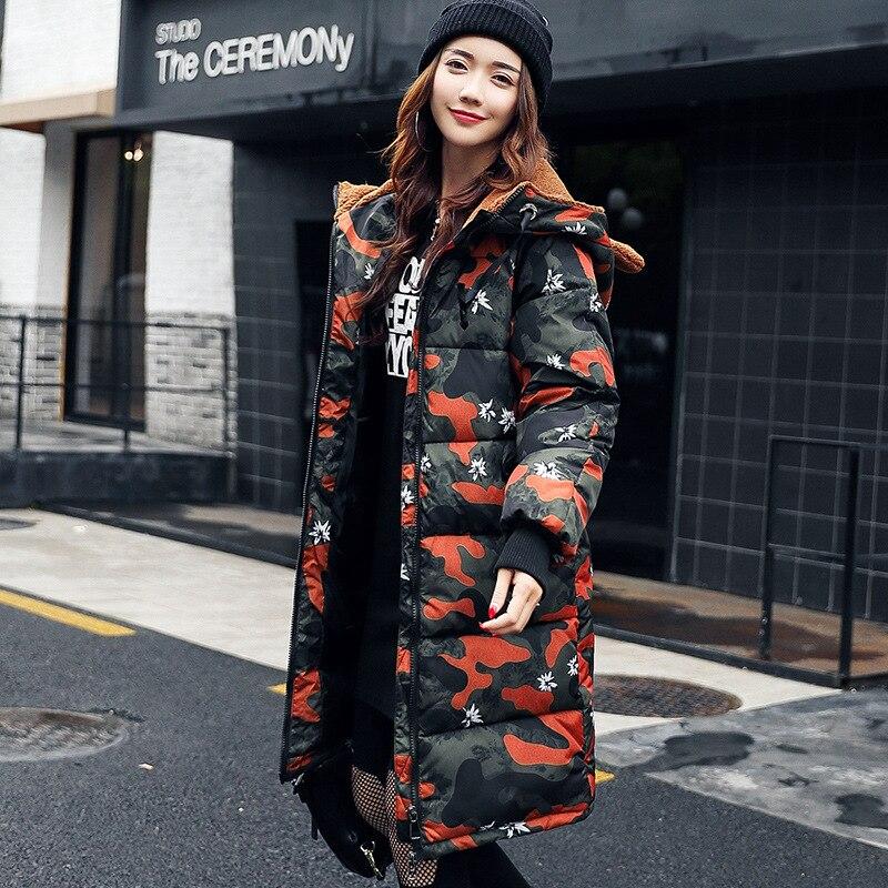 2018 Hot Camouflage Coat,Women Fashion Hooded Jackets Irregular Long Outwear with Zipper