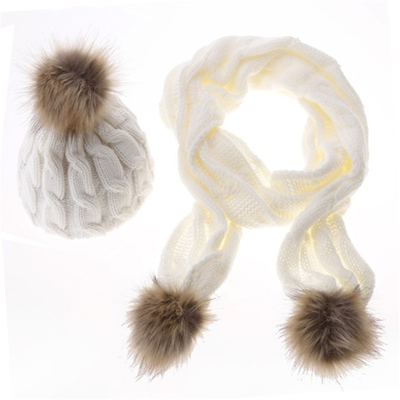 5colors women winter Skullies Beanies fashion solid Knitted cotton hats and Scarf Set for girls faux fur hat scarf shawls adult skullies