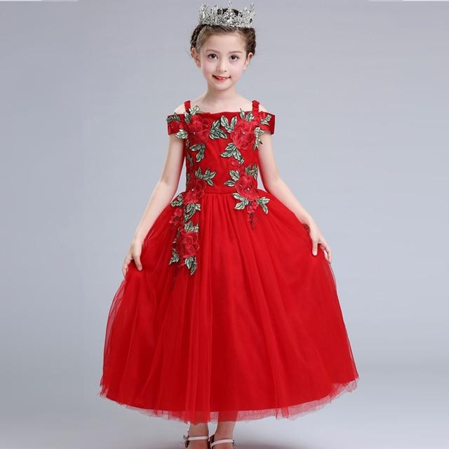 61abafa47 3-12 AÑOS NIÑOS bordado tul vestido largo niñas boda flor chica vestido  rojo elegante