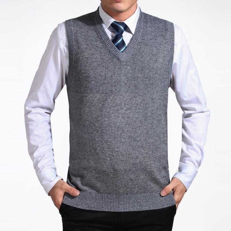 2018 Neue Ankunft Casual Einfarbig Pullover Weste Männer Pullover Wolle Pullover Herren V-ausschnitt Sleeveless Weste Marke Kleidung Exzellente QualitäT