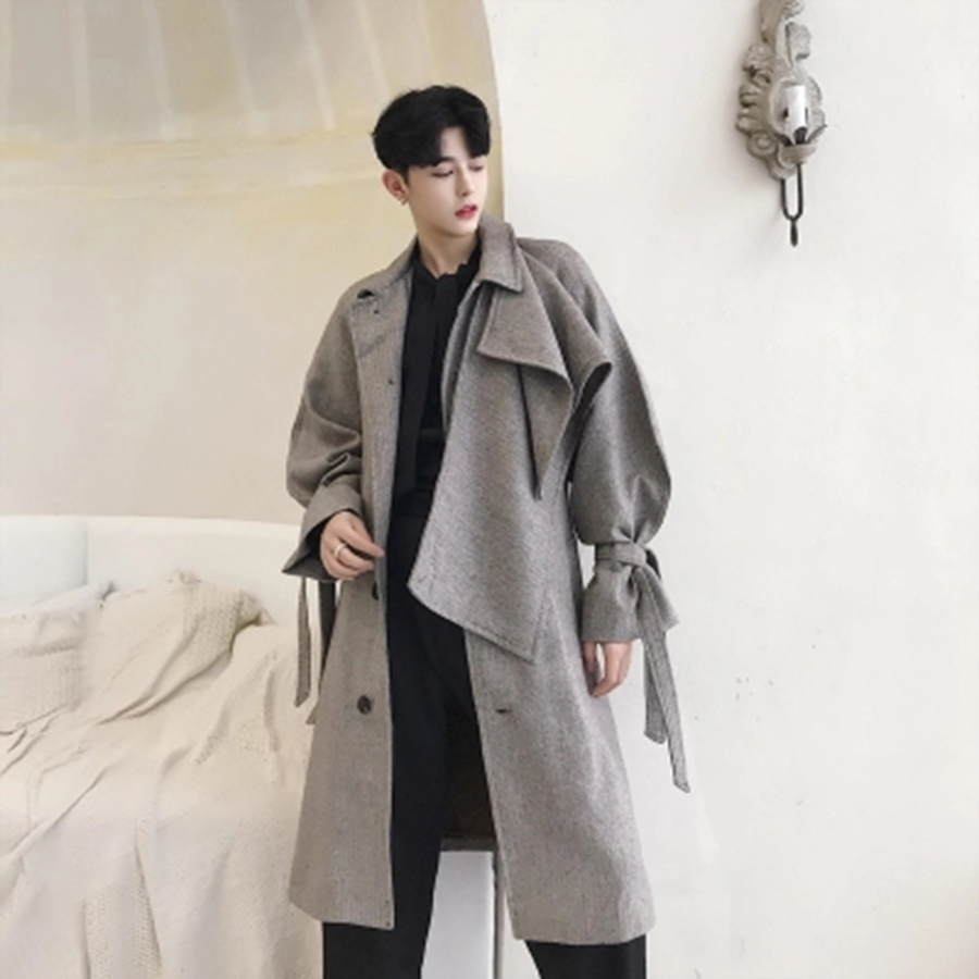 Retro Fashion Long Overcoat Men Trench Coat Casual Streetwear Hip Hop Overcoat Long Male Trenchcoats Gothic Steampunk Hombre
