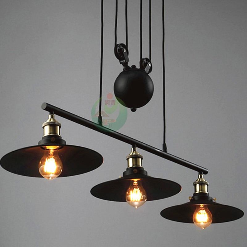 Nordic Industrial Pendant Lamp Lights Rh Loft Pulley Adjustable