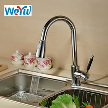 WEYUU Kitchen Faucet Nickel Brushed Brass material Kitchen Sink Faucet Pull Out Rotation Spray Mixer Tap стоимость