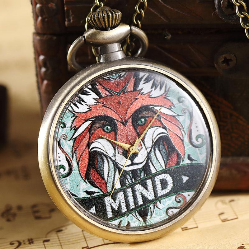 Vintage Quartz Pocket Watch Lino Pattern Fob Watch With Chain Pendant Necklace For Children Boy Gift