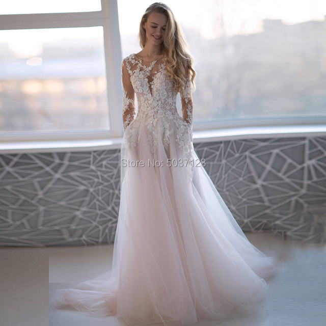 Romantic Pink Tulle Long Sleeves Wedding Dresses 2020 Beading Lace Appliques Scoop Backless Bridal Wedding Gowns Robe De Mariée