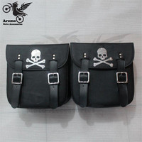 black skull moto tail bags scooter tool luggage motorbike saddlebag for harley prince cruise ghost head skeleton motorcycle bag