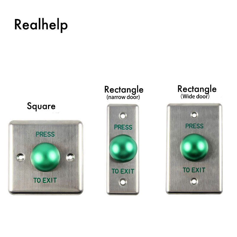 Door Release Button Stainless Steel  Panel with Wire Drawing Finish NO/NC/COM Suitable for  All kinds of doors Metal Button 10pcs no nc com stainless steel exit button with led light for door access control system night vision square metal switch