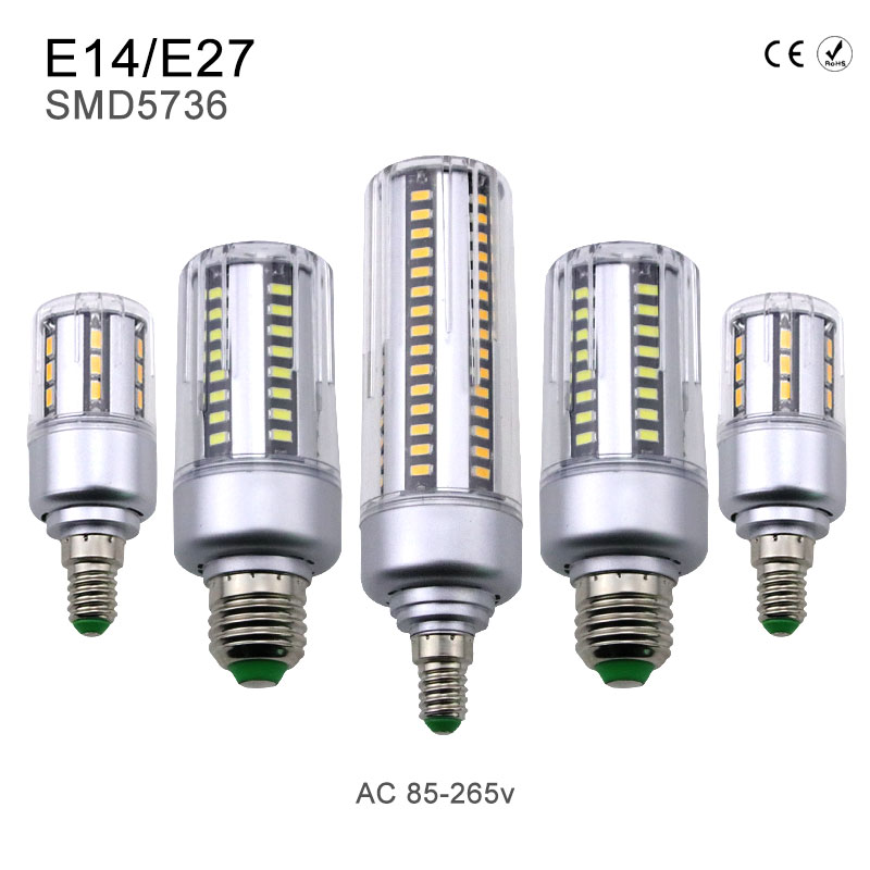 LED Lamp Corn Light SMD5736 E14 Constant Current Light Bulb Aluminum 220V 5W 7W 9W 12W 15W 18W 20W No Flicker AC85V-265V