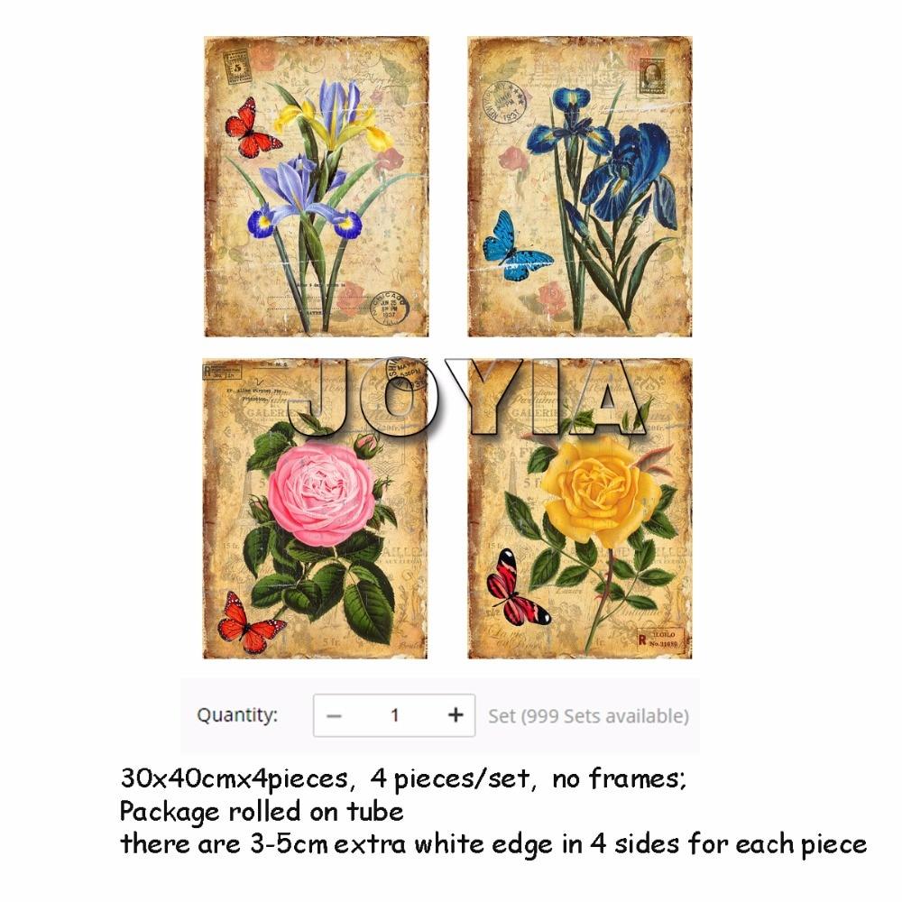4 Pieces Botanical Floral Prints Vintage Wall Art Antique Canvas ...