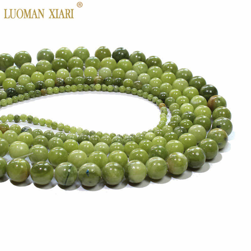 ใหม่จีน Jades Chalcedony หินสีเขียวธรรมชาติลูกปัดสำหรับเครื่องประดับ DIY สร้อยข้อมือสร้อยคอ 4/6/8/ 10/12 มม.Strand 15''