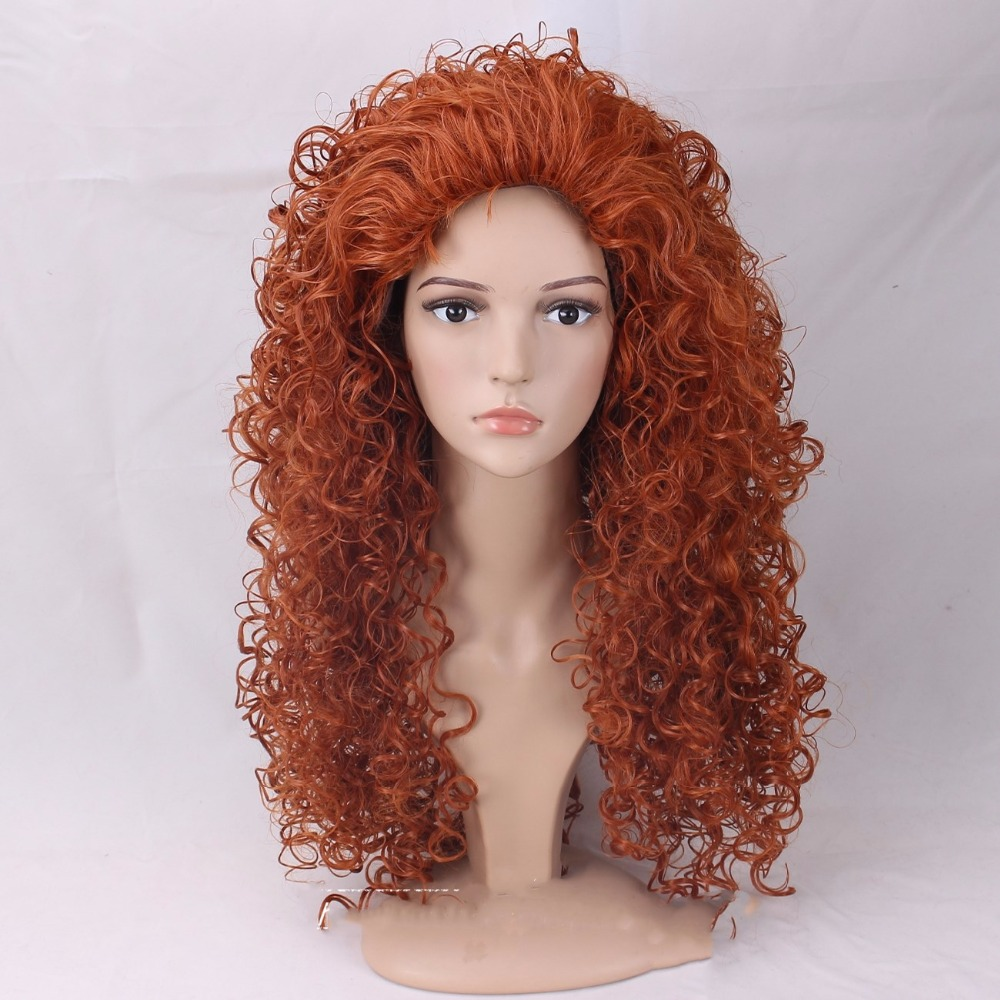 High Quality Brave Princess Merida Wig Long Orange Curly Heat Resistant Synthetic Hair Wigs + Wig Cap