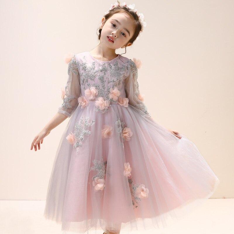 Robe de soirée pour enfants princesse Tutu robe filles moelleux fil Costume printemps été fleur filles pour hôte robe de fête de mariage