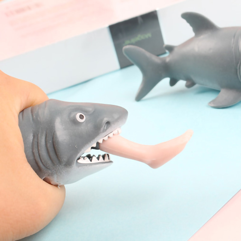 New Cute Creative Anti Stress Squeeze Toy Hungry Shark With Pop Out Surfer Leg Toy Stress Relief Funny Spoof Trick Gift