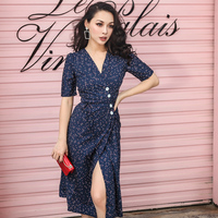 2018 Summer Vintage Elegant Dress Slim High Rise Type Irregular Cutting Dot Polka Printed Low Cut Half Sleeve Dress