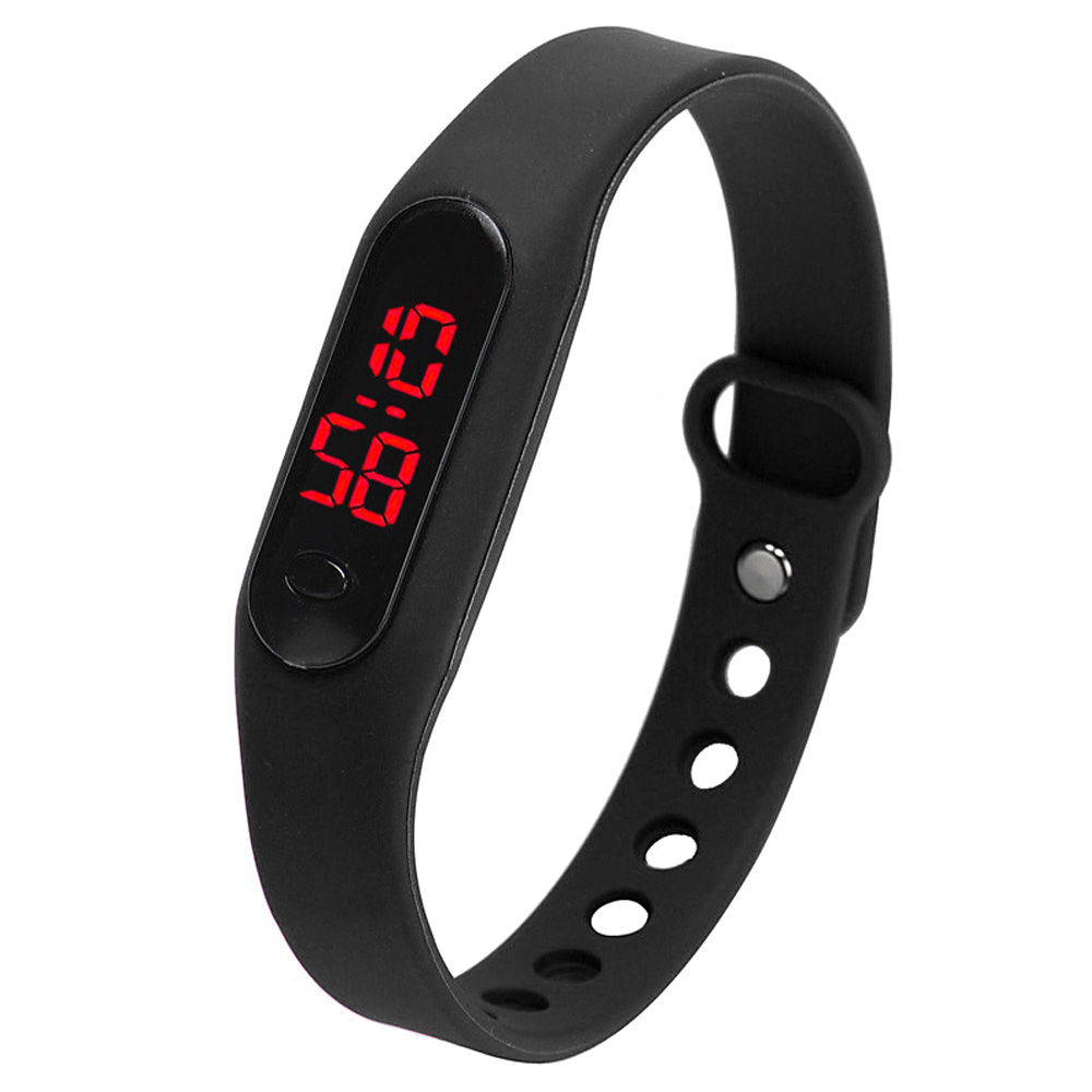 YCYS-Fashion LED Womens Mens Date Sports Bracelet Watch Rubber Digital Wrist Watches Black
