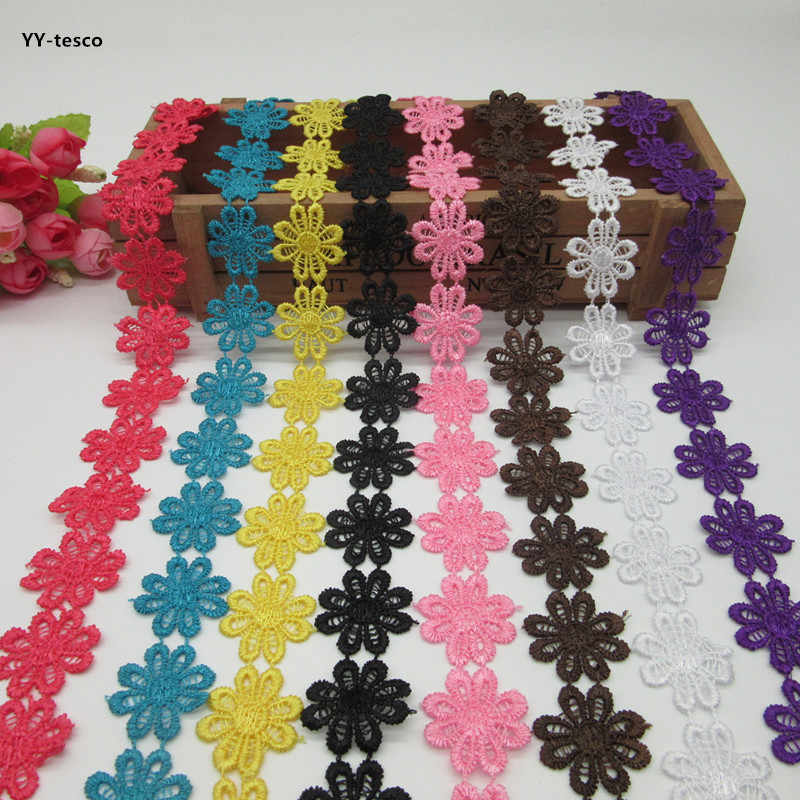 H39N 2Yard Delicate Polyester Flower Embroidered Applique Lace Trim Sewing Craft