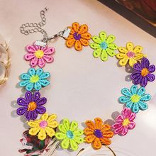 Only beautiful romantic flower collar necklace girl Japan and Korea collarbone chain cute little fresh choker neck band(China)