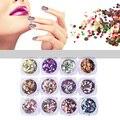 Brillante Redondo Ultrafino Lentejuelas Colorful Nail Art Glitter Consejos UV Gel 3D Decoración de Uñas de Manicura DIY Accesorios 1 Caja M03084