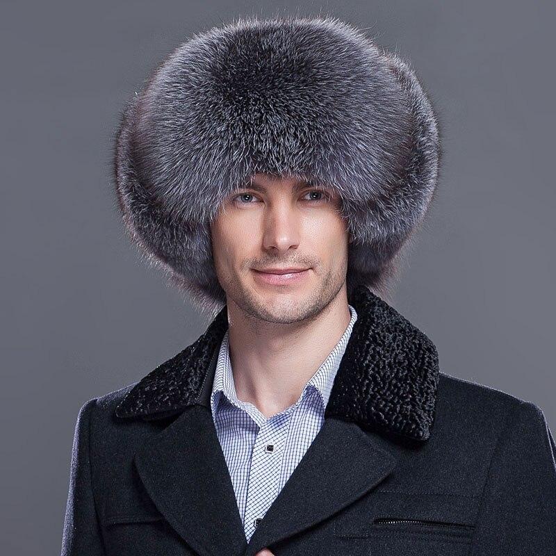 Nouveau mâle hiver chaud chapeaux véritable fourrure de renard bomber chapeau renard fourrure protection de chapeau d'oreille en cuir véritable fourrure de raton laveur cap hommes casquettes HL-01