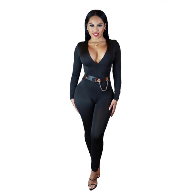 d2121f5d649 Women s Jumpsuits Fashion Sexy Hot Nightclub Bodysuits Slim Fit Bandage Jumpsuits  Long Sleeves Deep V neck