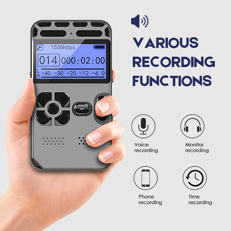 Hidden Voice Recorder Dictaphone Registrar MP3 1536KPS Gray Secret Record Player Device Voice Activated Function HIFI