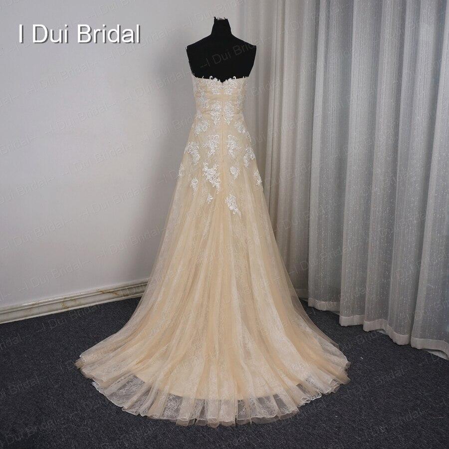 Schatz Eine linie Champagne Licht Brautkleider Spitze Appliqued ...