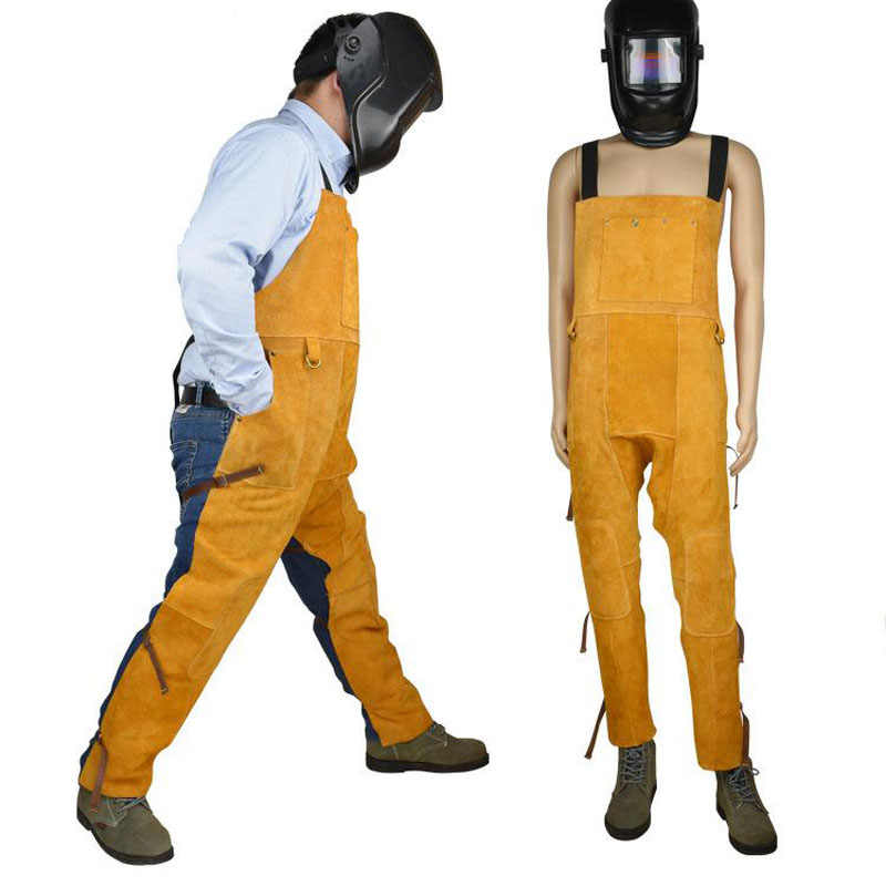 Welding Men's Overalls Safety Clothing Overalls High Temperature Protect Leather Flame Retardant Wear Repair Welding StrapDFW042
