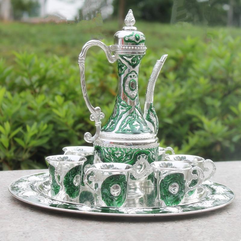 Trabajo a mano chino color verde metal vino/té zinc aleación vino 1 plato + 1 olla + 6 tazas Decoración de plata tibetana de latón