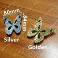 Buraco CC 32mm Prata Borboleta Dourada Cromagem de Bronze Chapeamento do Zinco Puxadores Do Armário de Cozinha Puxa Dresser Alças Borboleta Dos Desenhos Animados