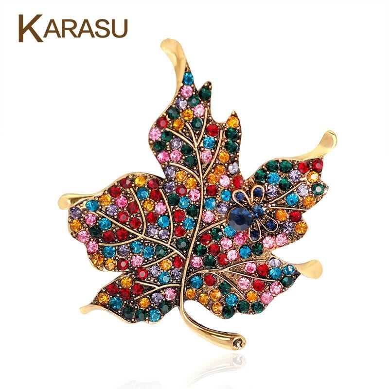Broche en forme de feuille d'érable colorée Broches vêtements pour femmes mariage strass feuilles Broches et Broches en métal Badges broche bijoux