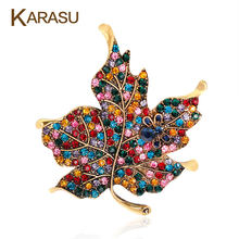 Colorful Maple Leaf A Forma di Spilla Perni di Vestiti per Le Donne Gioielli Da Sposa Strass Lascia Pins e Spille Distintivi Metallici Spilla(China)