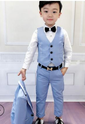 2018 Boys Formal Suit Wedding Party clothing Kids Blazer Vest Pants 3pcs Tuxedo Children boys blue