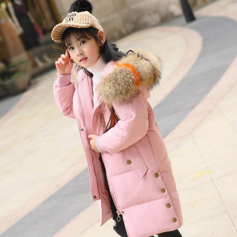 2018 New Real Fur Hooded Kids Winter Jacket Girls Warm Coats Girls Winter Coat Good Quality Down Jackets Coats 6-14 Y