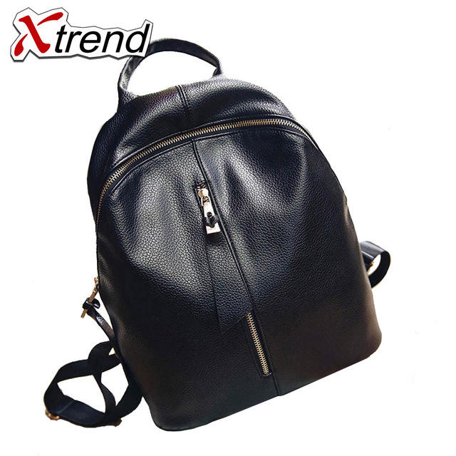 Xtrend Brand 2018 Solid High Quality PU Leather Backpack Women Designer  School Bags For Teenagers Girls 20a794f058c75