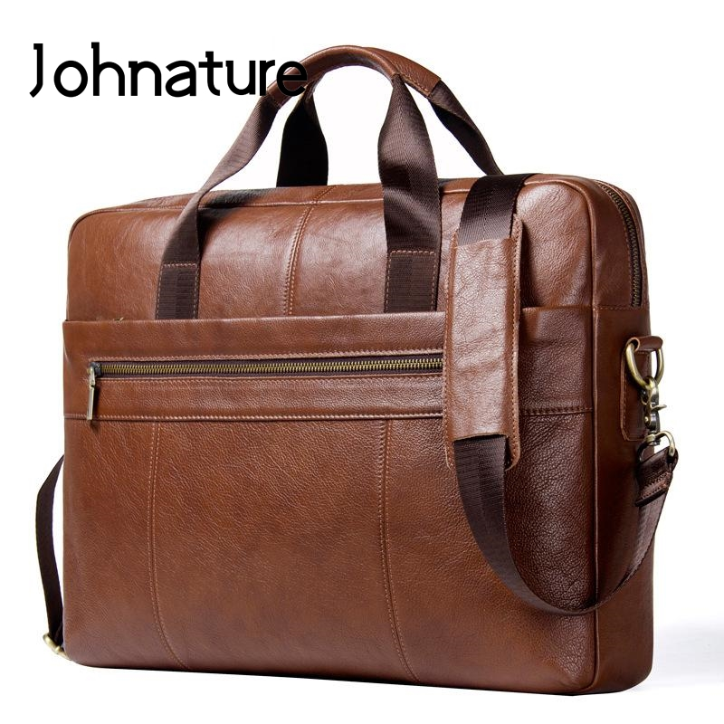 Johnature 2019 New Genuine Leather Solid Zipper Silt Pocket Soft Handle Business Briefcase Men Handbags & Crossbody Bags