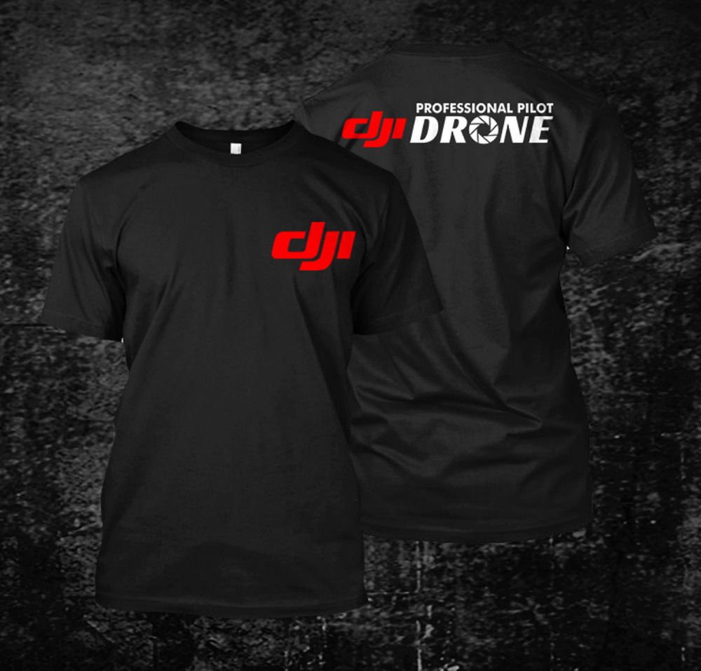 Summer DJI Professional Pilot Drone Men's Cotton T Shirt Harajuku Black Casual Print Plus Size S-3XL O Neck Tops Tees Shirts
