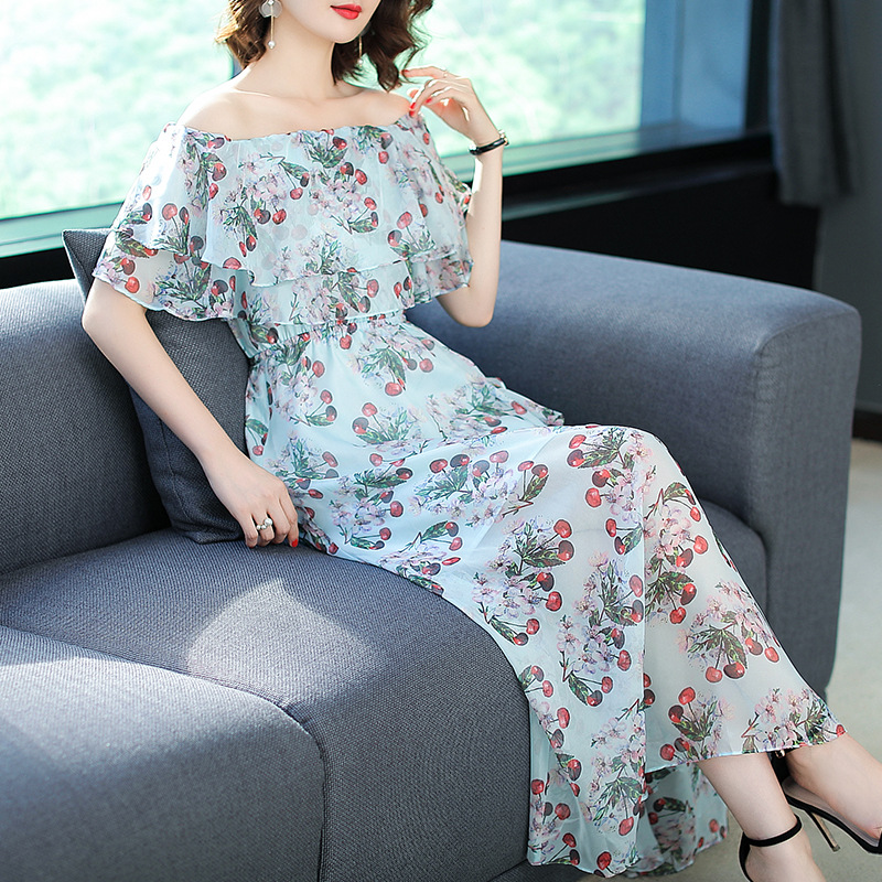 Vestidos Europe 2018 Summer Maxi Dress Women Ukraine Dressses New Slash Neck Cherry Prin ...