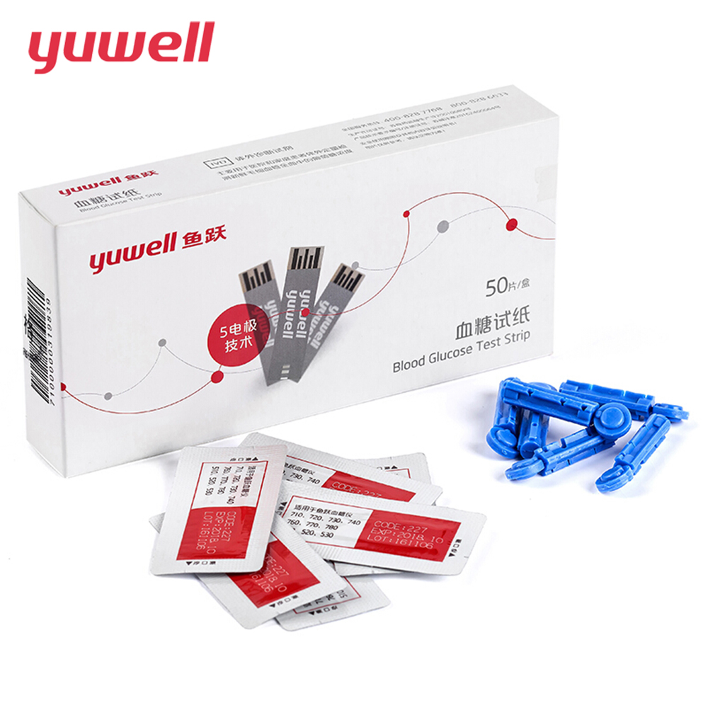 yuwell yuyue Unit mmol/l Blood Glucose Meter Test Strips and Sterile Lancets 50Pcs Diabetes Glucometer Diabetes 710 740 510 monitoring blood glucose and obesity in type 2 diabetes