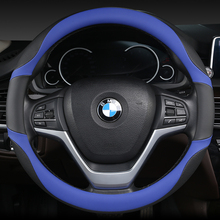 KKYSYELVA Black Car Sport Steering Wheel Cover Leather Auto Covers Universal 38CM wheel covers Inter Accessories