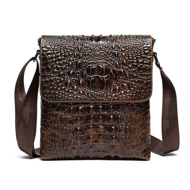 d4cba21a60c9b Ünlü marka Timsah desen Hakiki Deri Erkek çanta crossbody çanta İnek Deri  erkek evrak çanta Nedensel