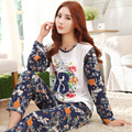 Женская Пижама Устанавливает Длинным Рукавом Пижамы Полиэстер Пижамы Письмо Ночное Пижамы Топы и брюки Размер M, L, XL, P4