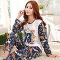 Para mujer Pijama de Manga Larga ropa de Dormir de Poliéster Pijamas Carta Ropa de Dormir Pijamas Tops y pantalones Tamaño Ml XL P4