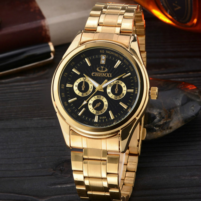 CHENXI Brand Mens Gold Watch Fashion Luxury Male Quartz-watch Man Clock Golden IPG Stainless Steel Business Watches Gift For Men fashion golden snitch pocket watch stainless steel with necklace chain quartz clock for young people best gift